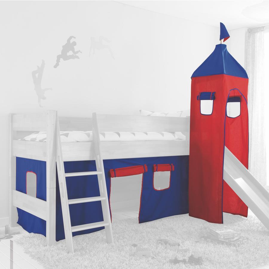 Relita Stoffset für Hochbetten mit Turm blau / rot