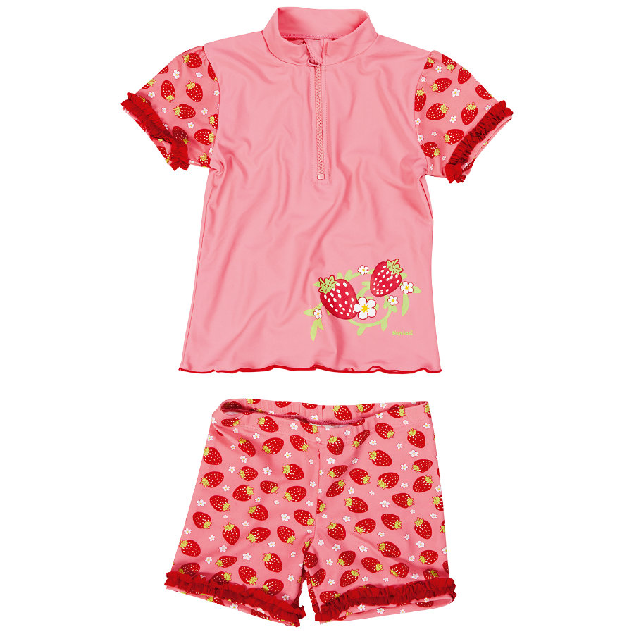 Playshoes Girls UV-beskyttelse Badesett Jordbær rød