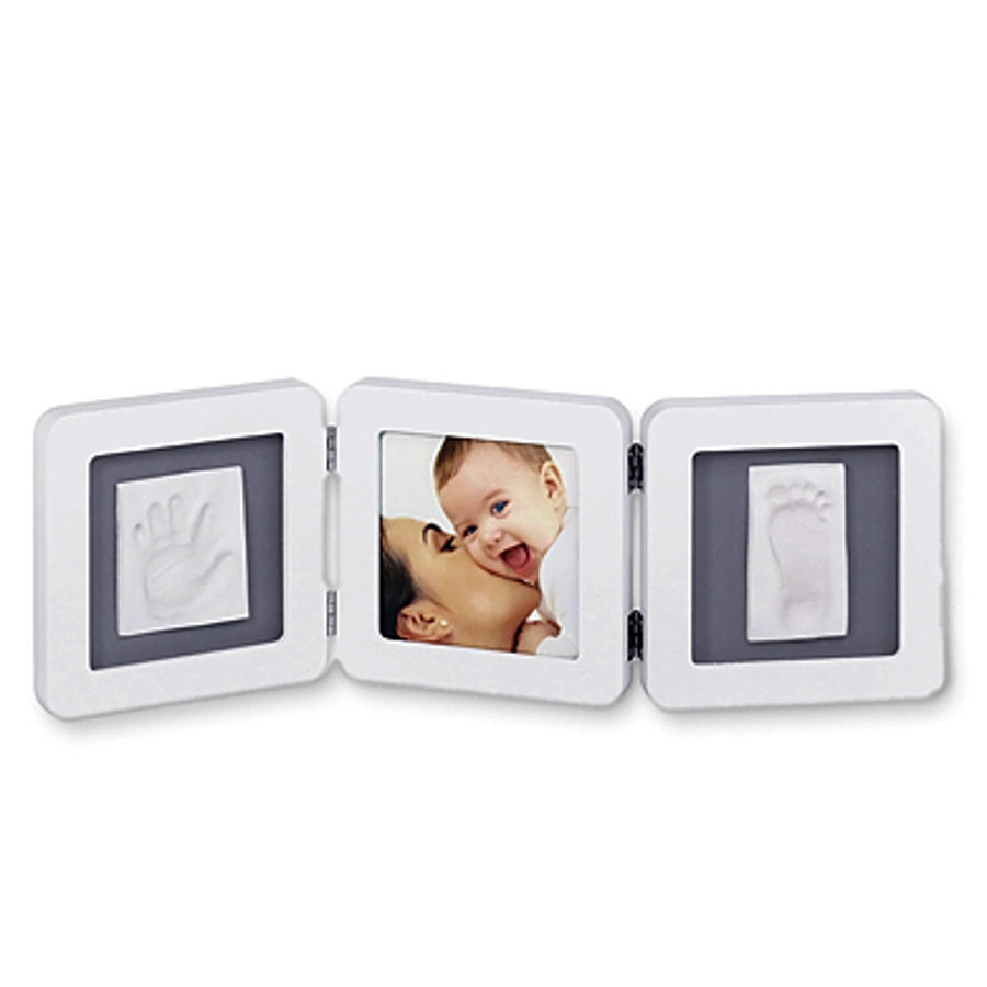 Dvojitý rámeček na otisky BABY ART - bílo-šedý