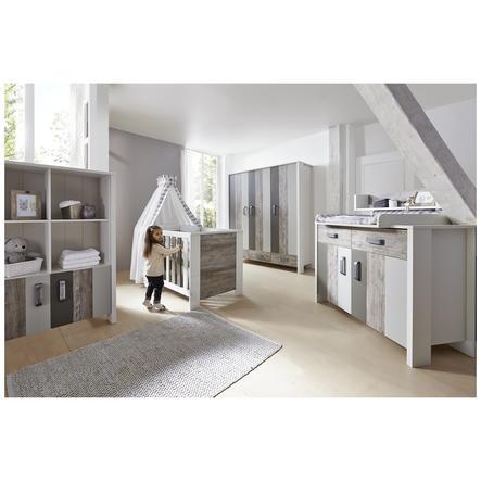 SCHARDT Woody Grey Kit chambre enfant avec armoire 3 portes lit kit de transformation commode  et plateau