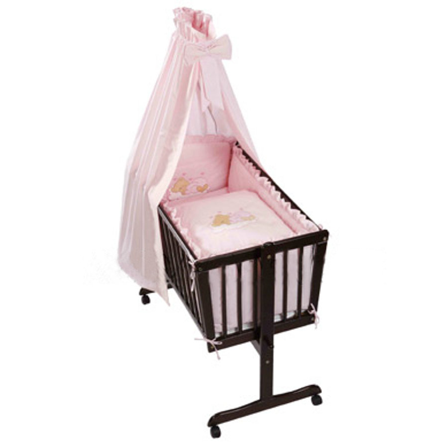 Easy Baby Cradle Linens Set - Sleeping Bear - Pink