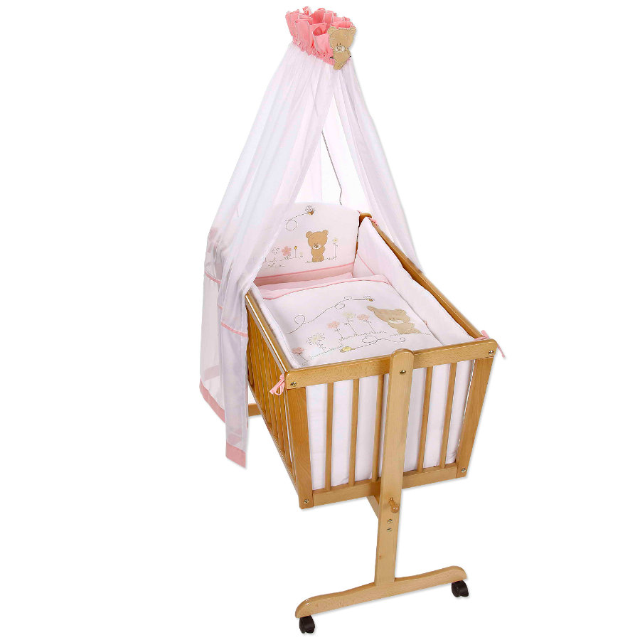 Easy Baby Zestaw pościeli do kołyski Honey Bear rose (480-42)