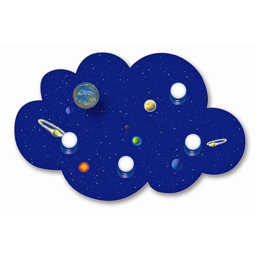 WALDI Plafonnier nuage espace bois, bleu, 4x9W/E14