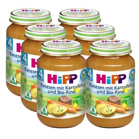 HiPP Bio Karotten mit Kartoffeln und Bio-Rind 6 x 190g