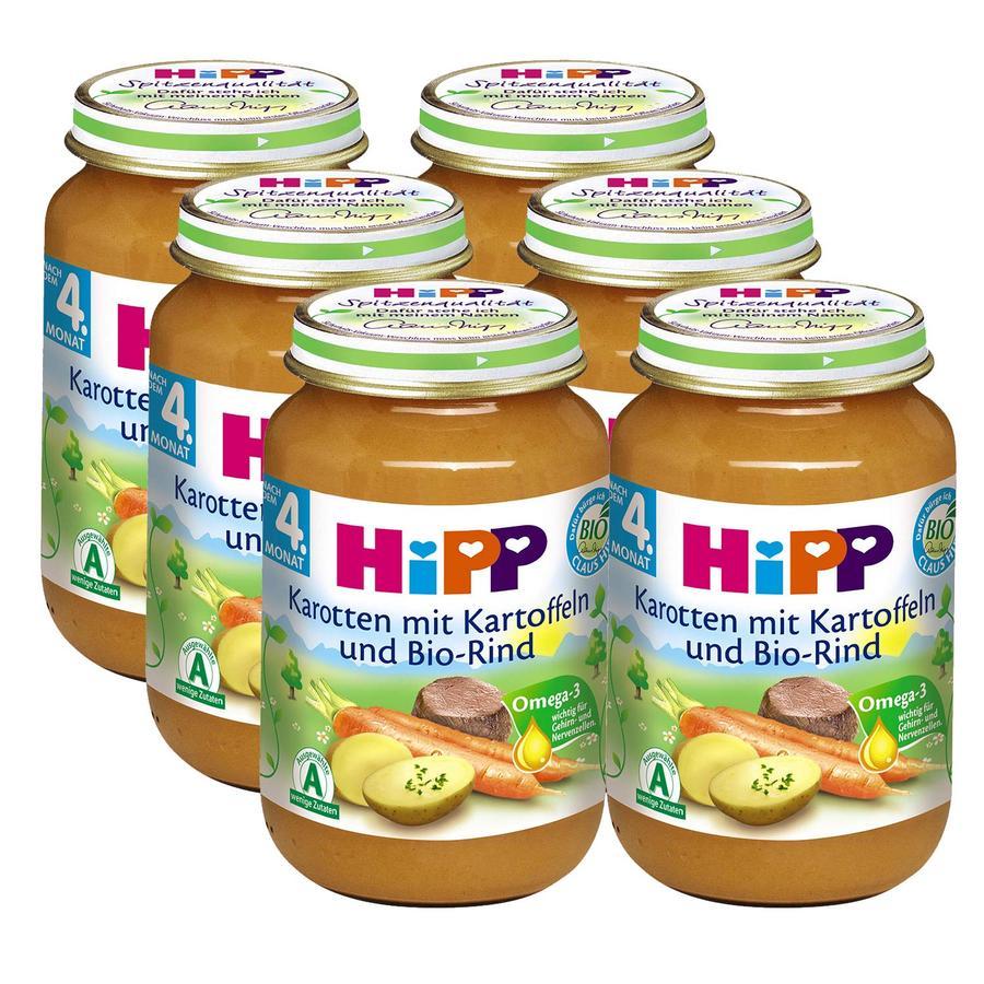 HiPP Bio Karotten mit Kartoffeln und Bio-Rind 6 x 190 g
