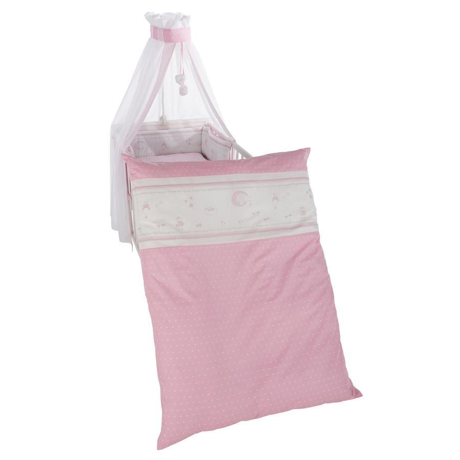 ROBA Kinderbettgarnitur 4-teilig 100x135cm Glücksengel rosa