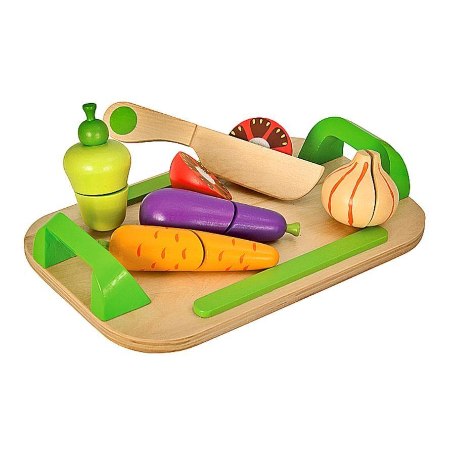 Eichhorn Planche à découper enfant légumes bois 12 pièces