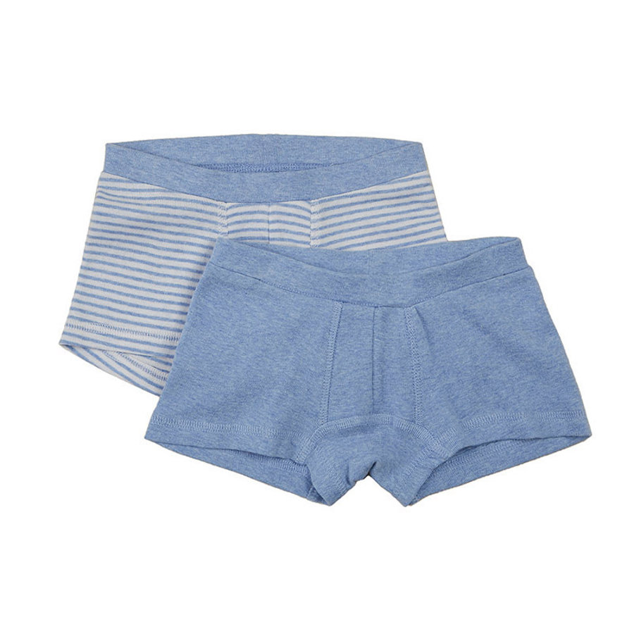 SENSE ORGANICS Boys Mini Boxerky 2er-Set PRINCE blue marl/blue stripes