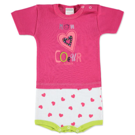 ABSORBA Girls Baby Body 1/4 de bras rose vif/blanc