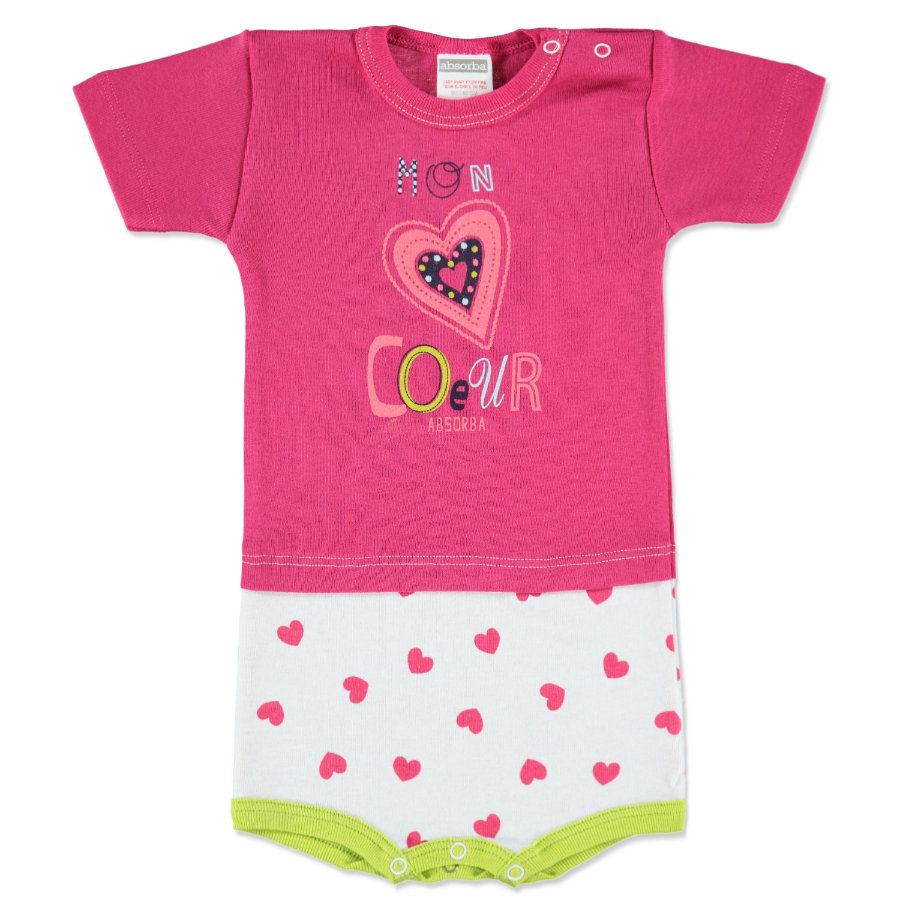 ABSORBA Girls Baby Body 1/4 rukáv pink/weiß