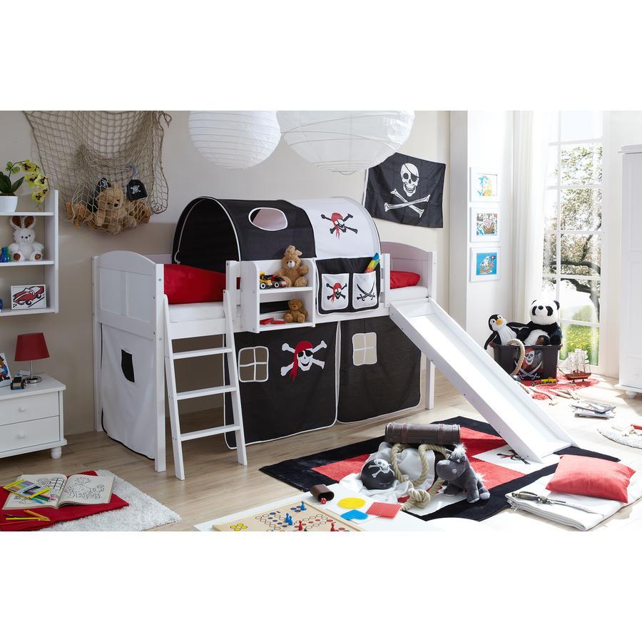 TICAA Patrová postel se skluzavkou EKKI borovice bílá Country - pirát černo-bílá