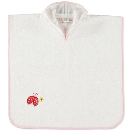 pink or blue Girls Bath Poncho Ladybeetle, white/pink