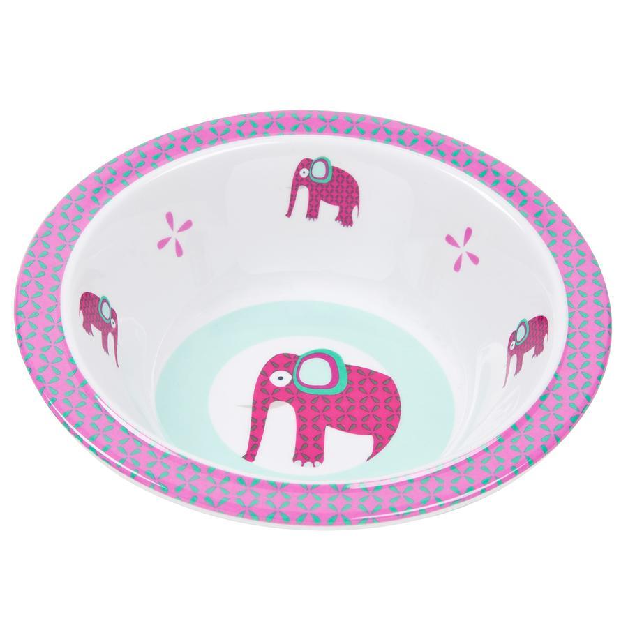 LÄSSIG Melamin Schüssel mit Silikon Wildlife Elephant pink
