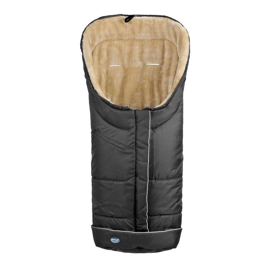 URRA Coprigambe a sacco invernale Deluxe con pelliccia grande nero/beige
