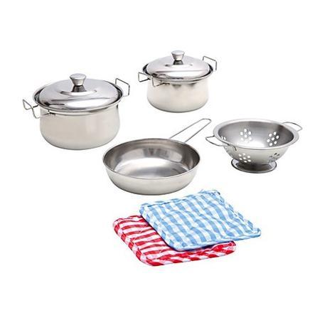 BINO Køkkengrej, rustfri stål, 8 dele, for børn (legetøj/legekøkken)