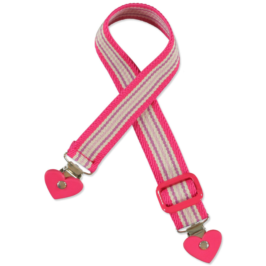 PLAYSHOES Ceinture élastique à clips cœur, rayée rose