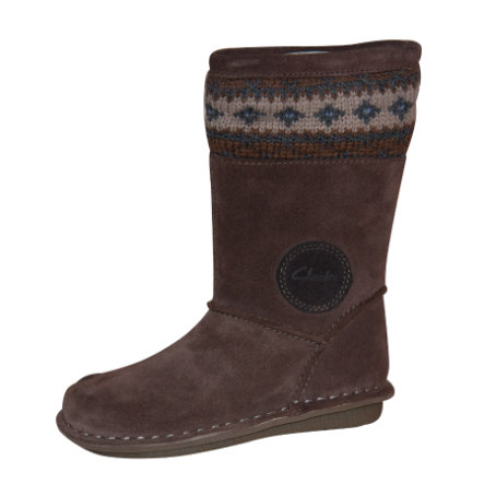 CLARKS Girls Kozaki skórzane SNUGGLE HUG brown