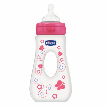 CHICCO Butelka Silikon 240 ml, 4m+ Girl