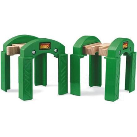 BRIO® WORLD Supports de pont pour circuit de train empilables bois 33253