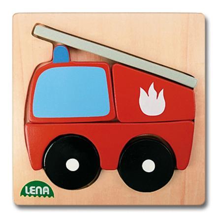 LENA Drewniana układanka Wóz strażacki