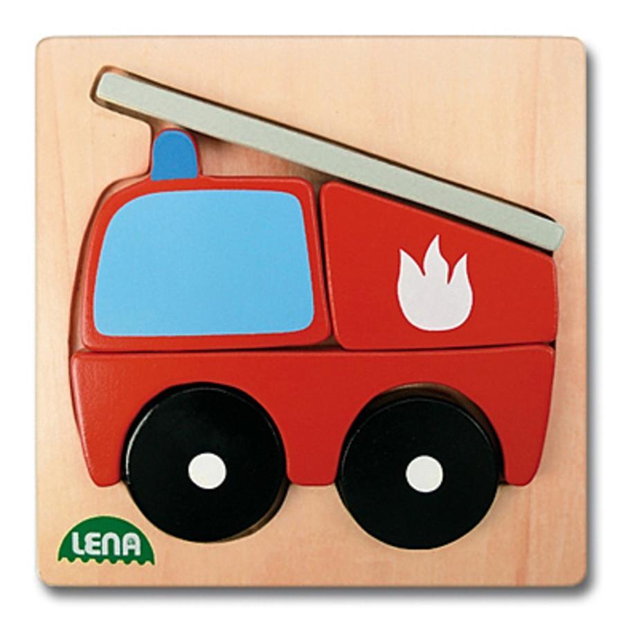 LENA dřevěné puzzle hasiči 6-dílny
