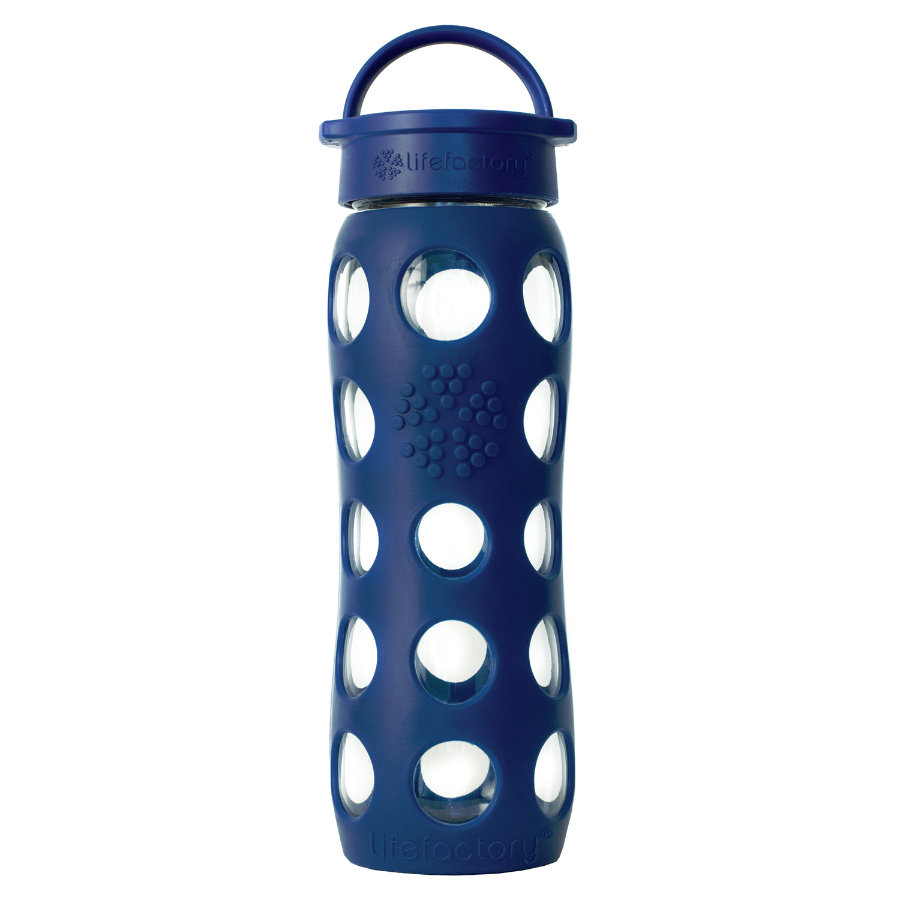 "LIFEFACTORY Vattenflaska Glas  ""midnight blue"" 650ml"