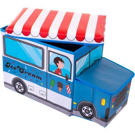 BIECO Skrzynia na zabawki i ławka do siedzenia Wóz z lodami