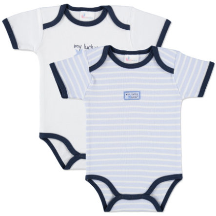 pink or blue Boys Rompers My lucky Star Double Pack blue and white stripes