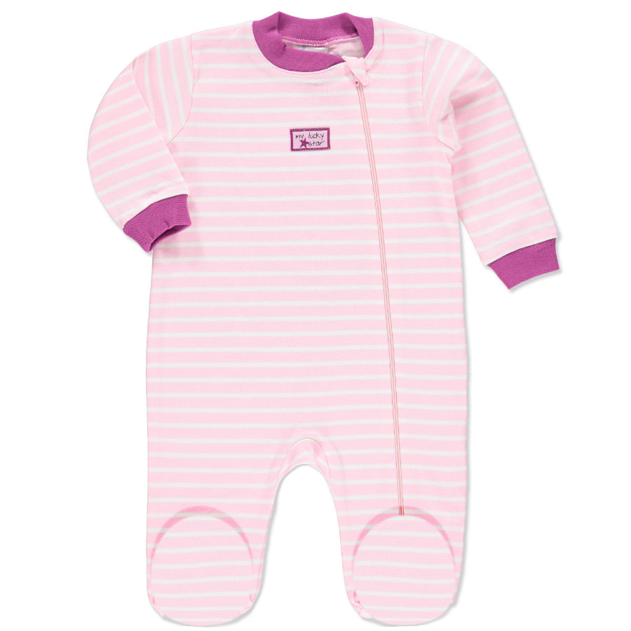 pink or blue Girls Sleepsuit My lucky Star white and pink stripes
