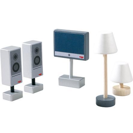 HABA Little Friends - Accessoires pour maison de poupée :  Téléviseur et lampes 300502