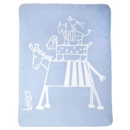 ALVI Manta de algodón con bordes en cadena Diseño Los músicos de Bremen azul
