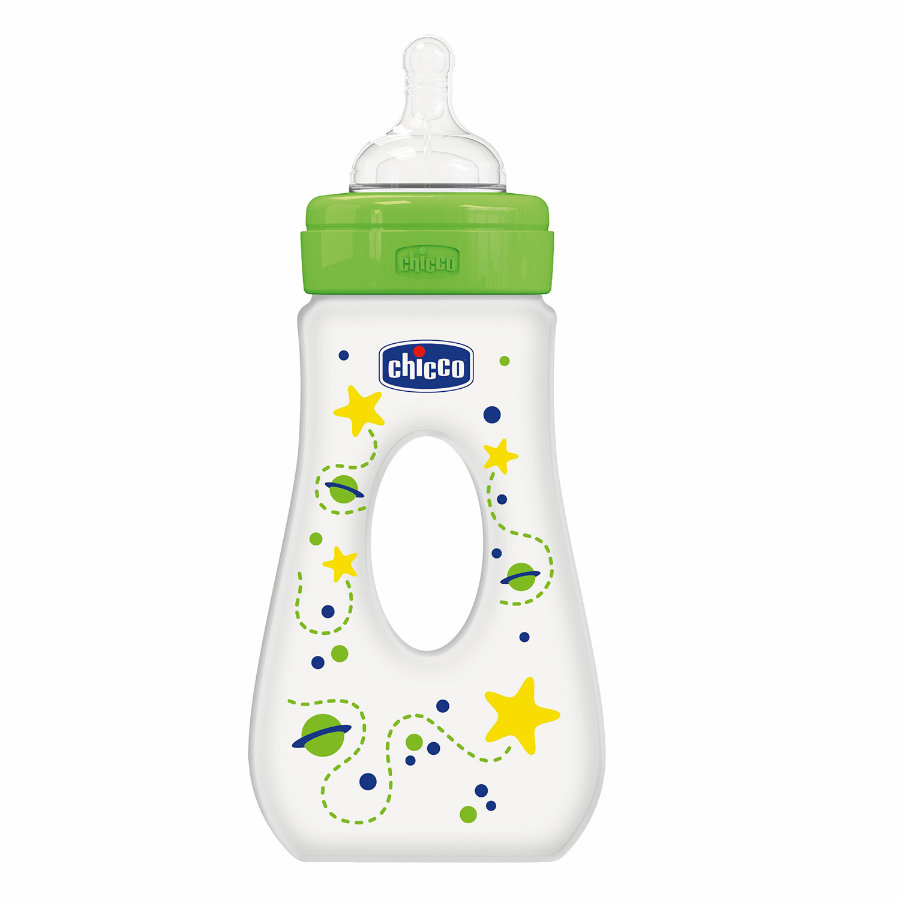 CHICCO Fles 240ml 4m+ Silicone groen