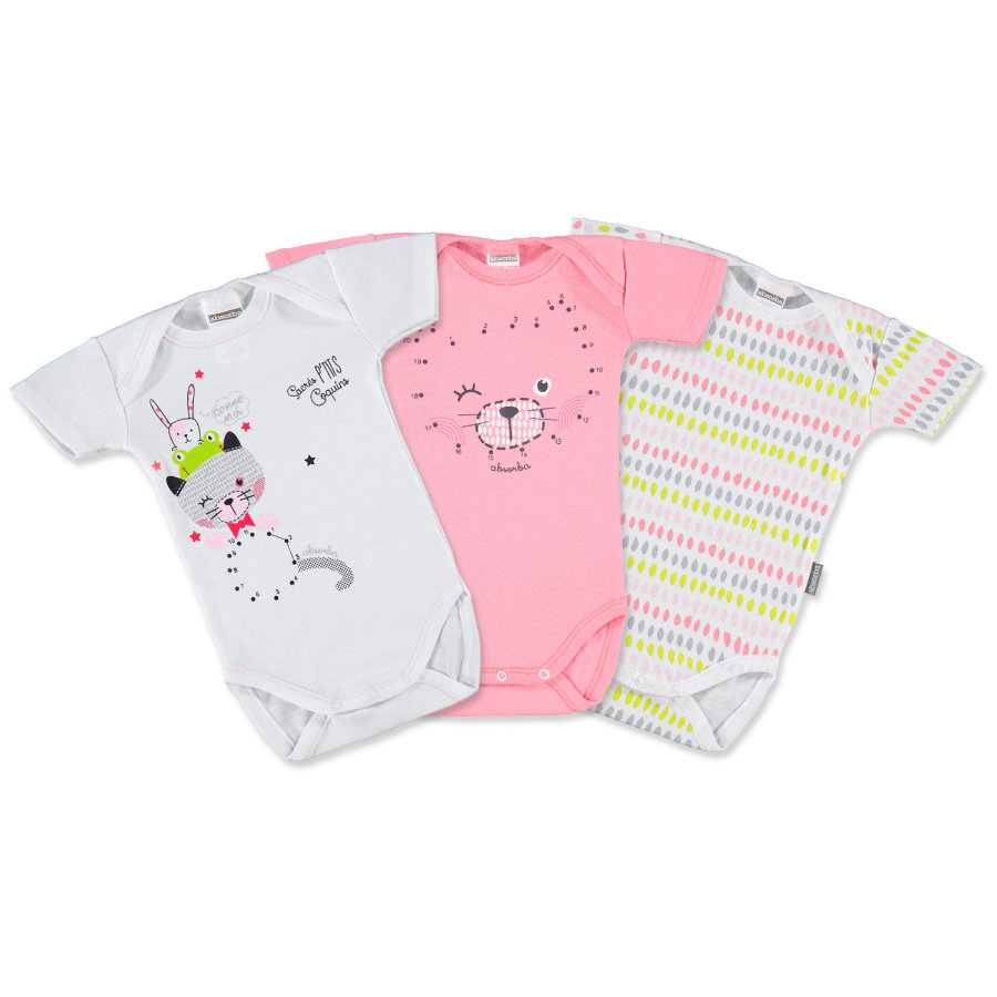 ABSORBA Girls Baby Bodies 1/4 de bras rosé/blanc Lot de 3