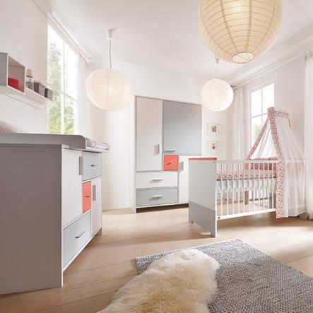 SCHARDT Candy Red Kit chambre enfant avec armoire 3 portes lit kit de transformation commode  et plateau