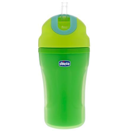 chicco Trinklernflasche grün mit Strohhalm 18M+