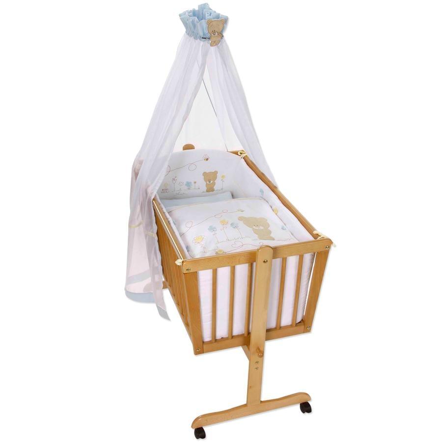 Easy Baby sengesæt til vugge Honey bear blå (480-41)
