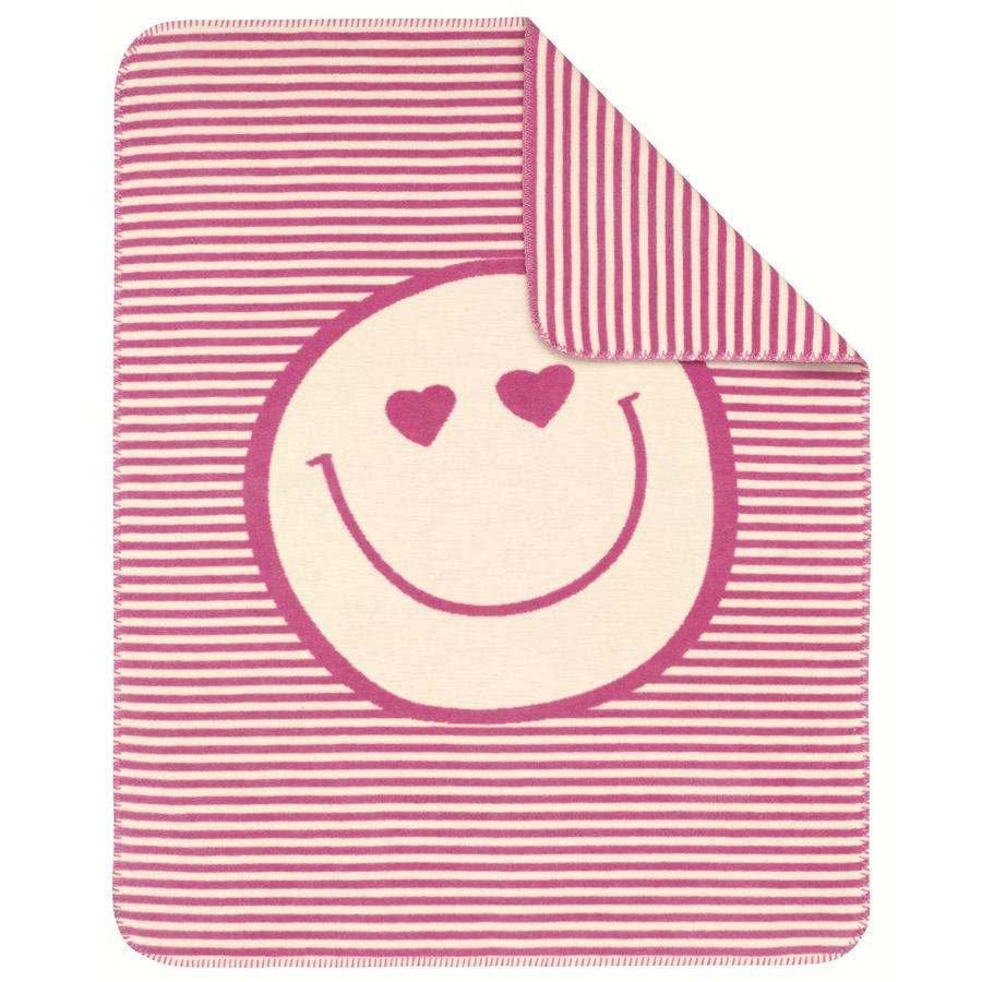 s.OLIVER Jacquard deka Smily 75 x 100 cm - růžová