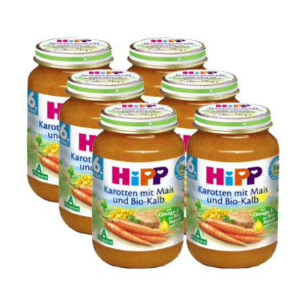 HIPP Bio Carrots with Corn and Orgasnic Veal 6 x 190g