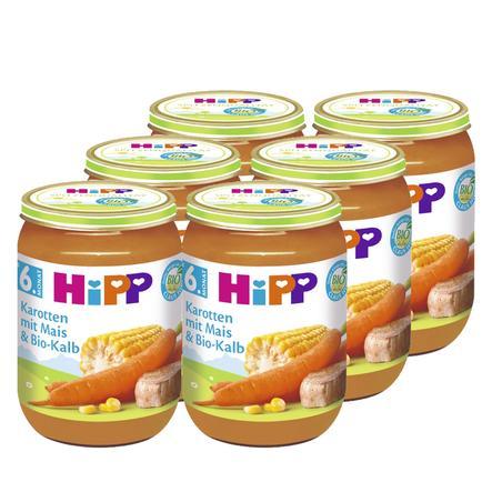 HiPP Bio Karotten mit Mais und Bio-Kalb 6 x 190 g