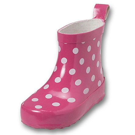 PLAYSHOES Girls Rubber Boots low DOTS pink PVC free
