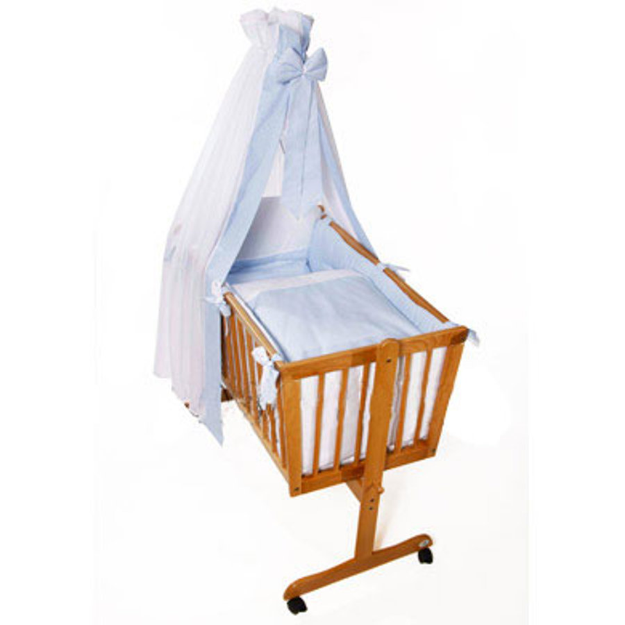 Easy Baby Komplet pościeli do kołyski Vichy niebieski (480-50)
