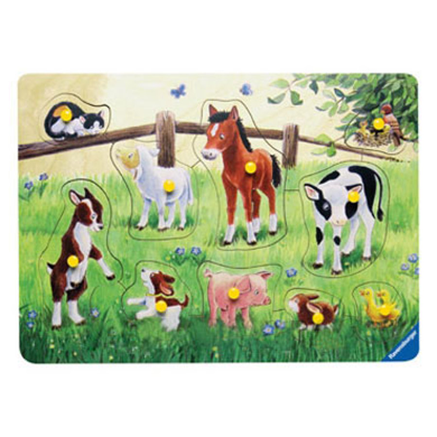 RAVENSBURGER Houtenpuzzel Huisdieren, 10 stukjes