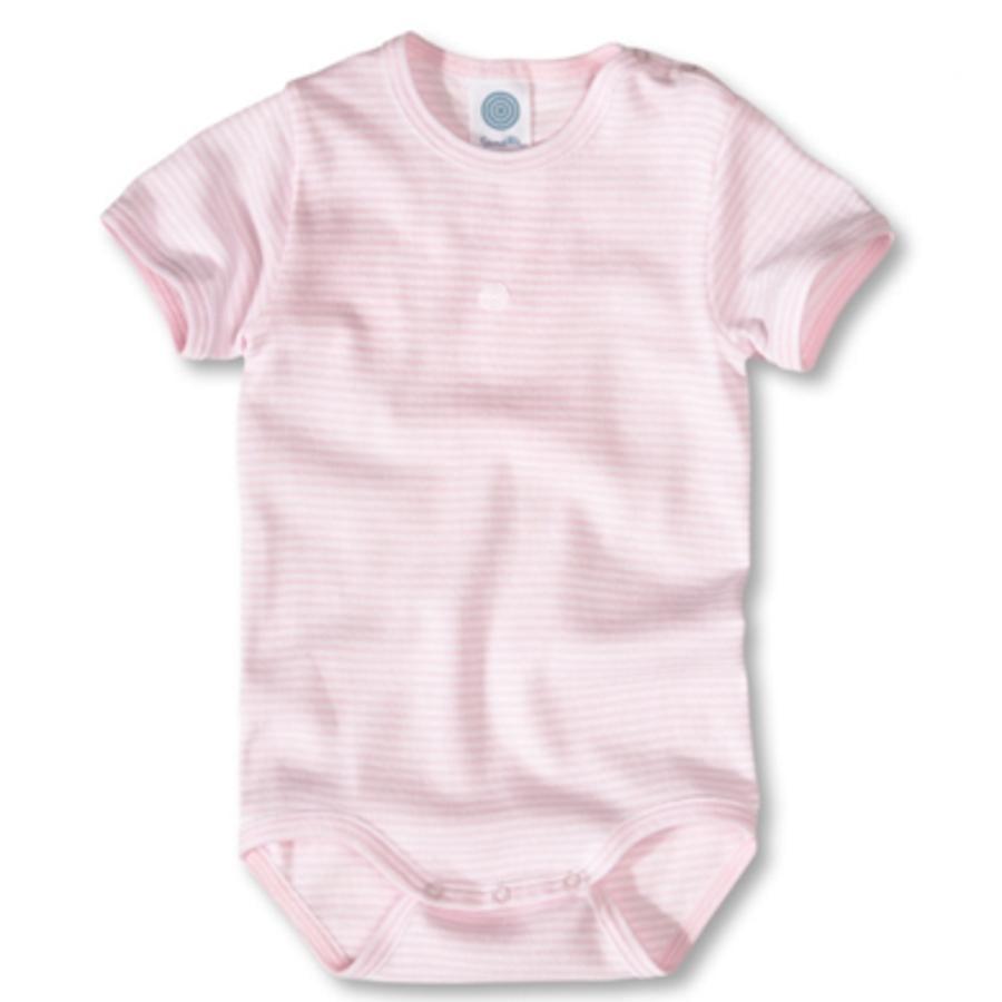 SANETTA Body w biało-różowe paski