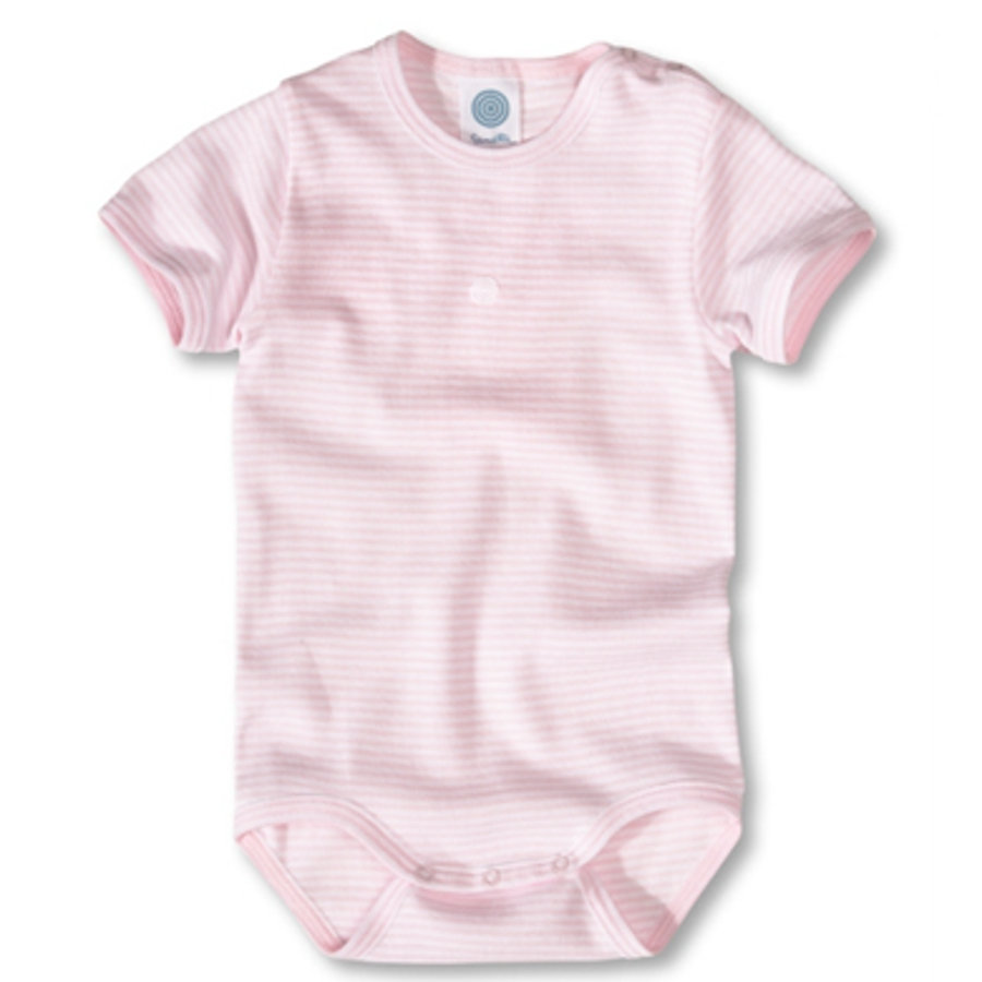 SANETTA Short Sleeve Bodysuit stripes rose Organic Cotton UPF