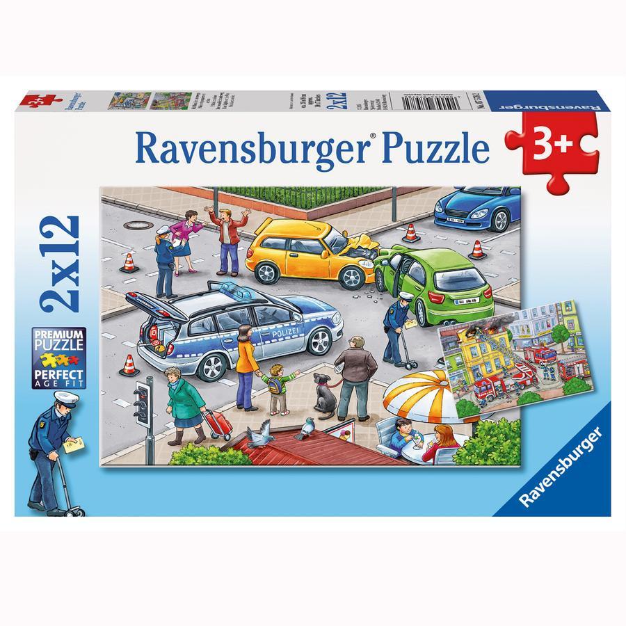 RAVENSBURGER Puzzle - S modrým světlem na silnici,  2x12 dílů