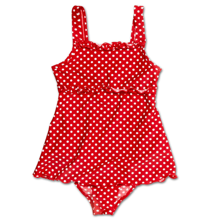 PLAYSHOES Maillot de bain fille avec jupette Protection UV rouge à pois