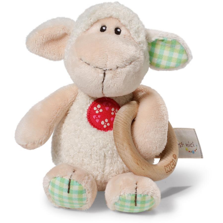 NICI My First NICI Chwytak Owieczka Monny z drewnianym pierścieniem 15 cm