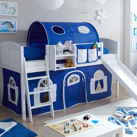 TICAA Patrová postel se skluzavkou EKKI borovice bílá Country - modro-bílá - venkovský dům