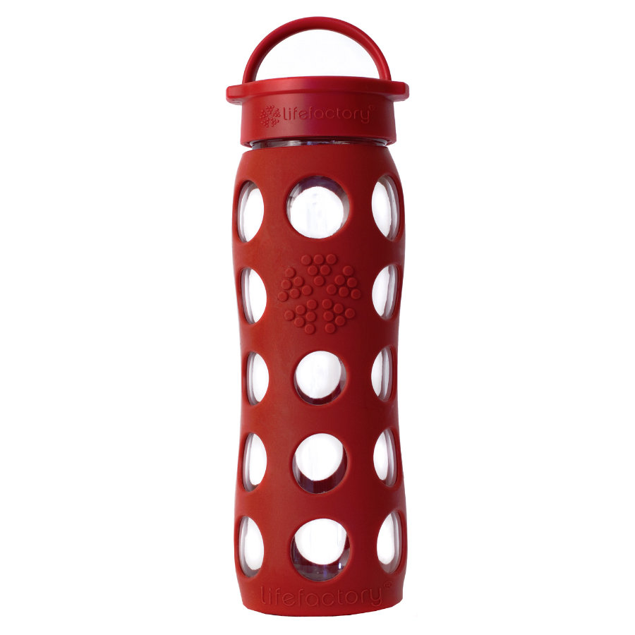 "LIFEFACTORY Glazen Drinkfles ""red"" 650ml"