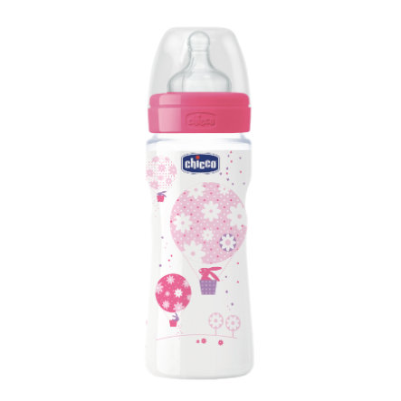 CHICCO Welzijn Babyfles 330ml Girl 4m+ Silicone